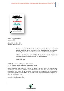 La Revolución de las Personas. - Marca Personal y Comunicación