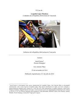 El Caso de Leopoldo López Mendoza Ciudadano de la República