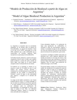 """""""Modelo de Producción de Biodiesel a partir de Algas en Argentina"""