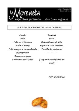 SURTIDO DE CROQUETAS 100% CASERAS Jamón Pollo Pollo al