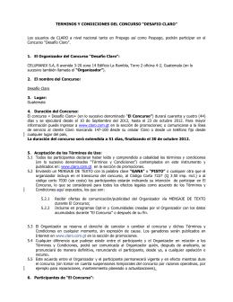 """TERMINOS Y CONDICIONES DEL CONCURSO """"DESAFIO CLARO"""