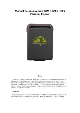 Manual de usuario para GSM / GPRS / GPS Personal Tracker