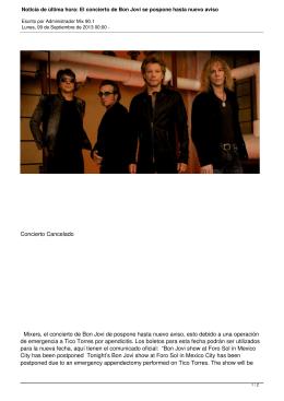 El concierto de Bon Jovi se pospone hasta nuevo aviso