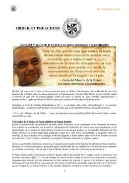 Carta del Maestro de la Orden: Los laicos dominicos y la