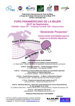 """FORO PANAMERICANO DE LA MUJER """"Generando Proyectos"""""""