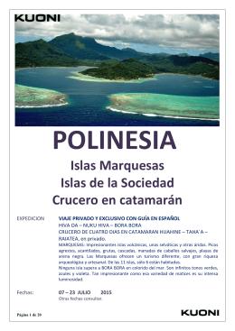 Islas Marquesas Islas de la Sociedad Crucero en catamarán