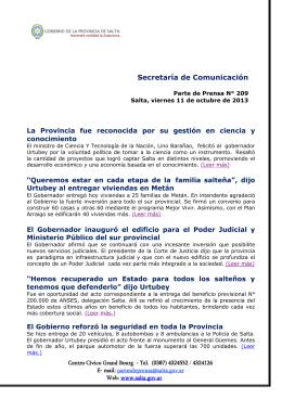 Secretaría de Comunicación - Gobierno de la Provincia de Salta