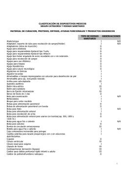 Clasificación de dispositivos médicos según categoría y riesgo