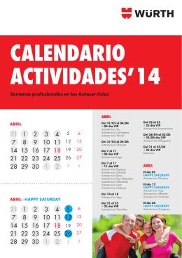 Calendario de actividades de los Autoservicios Würth en abril