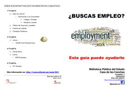¿BUSCAS EMPLEO? - Bibliotecas de Castilla y León