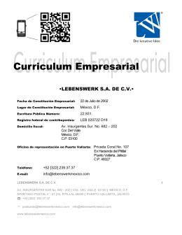 •LEBENSWERK S.A. DE C.V.•