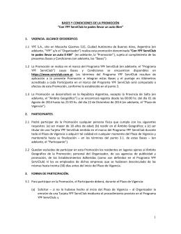 """BASES Y CONDICIONES DE LA PROMOCIÓN """"Con YPF ServiClub"""