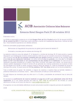 ACIB Asociación Celíacos Islas Baleares Estancia Hotel Exagon