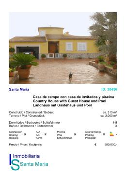Santa Maria ID: 30456 Casa de campo con casa de invitados y
