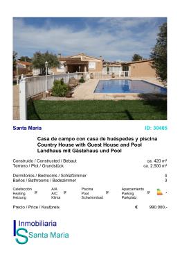 Santa Maria ID: 30405 Casa de campo con casa de huéspedes y