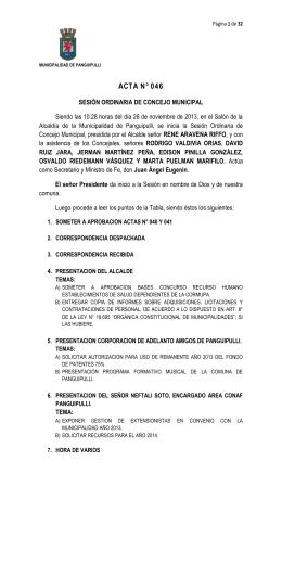 Acta N° 046 del 26-11-13 - Municipalidad de Panguipulli
