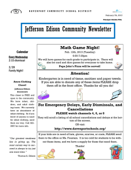 Jefferson Edison Community Newsletter