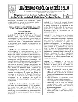 2.53 Reglamento de Actos de Grado de la Universidad Católica