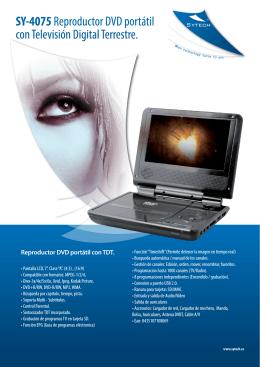 SY-4075 Reproductor DVD portátil con Televisión Digital Terrestre.