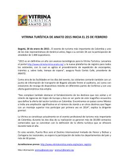 VITRINA TURÍSTICA DE ANATO 2015 INICIA EL 25 DE FEBRERO