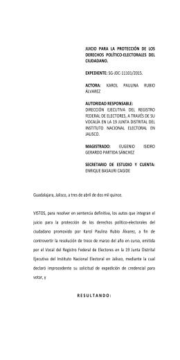 sg-jdc-11101/2015. actora - Tribunal Electoral del Poder Judicial de