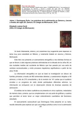Jaime J. Domínguez Ávila. Las prácticas de la adivinación en