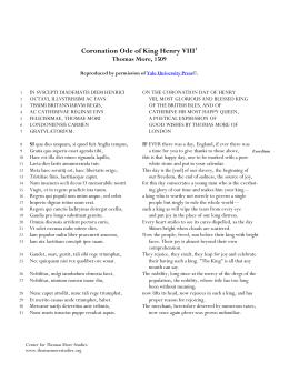 Coronation Ode of King Henry VIII1