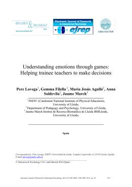 Understanding emotions through games: Helping trainee teachers