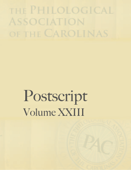 Postscript Volume 23 - The Philological Association of the Carolinas