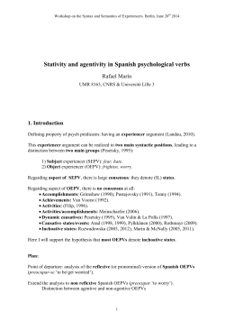 Stativity and agentivity in Spanish psychological verbs
