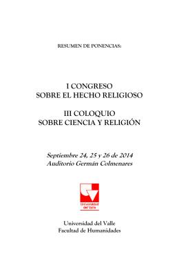 RESUMEN DE PONENCIAS - Religiones, Creencias y Utopías