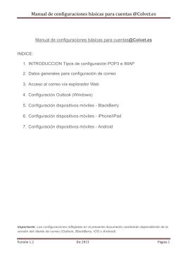 Manual de configuraciones básicas para cuentas @Colvet.es