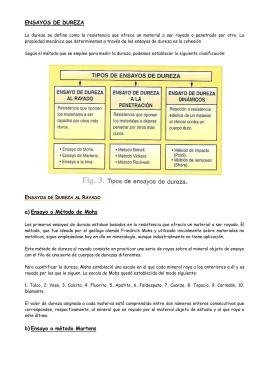 ENSAYOS DE DUREZA a) Ensayo o Método de Mohs b