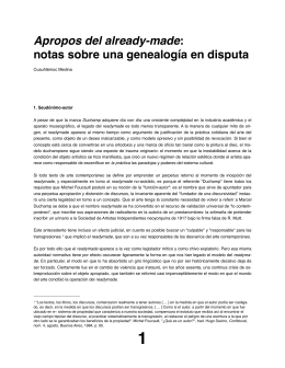 Apropos del already-made: notas sobre una genealogía