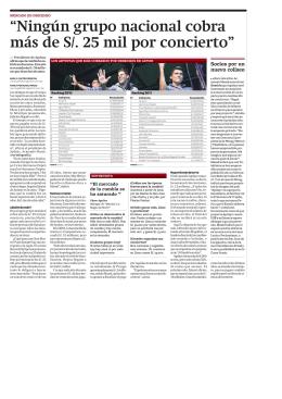 Ningún grupo nacional cobra más de S 25 mil por concierto Ningún