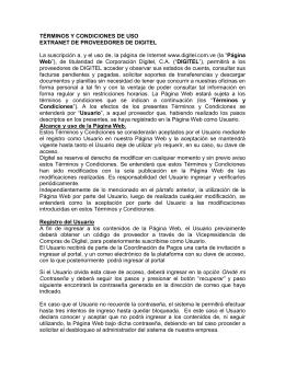 TÉRMINOS Y CONDICIONES DE USO Extranet de proveedores