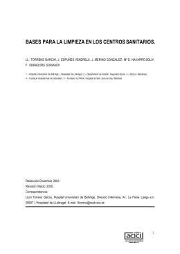 BASES PARA LA LIMPIEZA EN LOS CENTROS SANITARIOS.