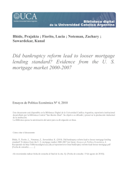 Did bankruptcy reform lead to looser mortgage lending standard