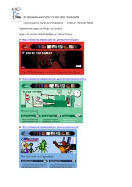 juegos on-line Medio Ambiente, Salud, Ciencia…