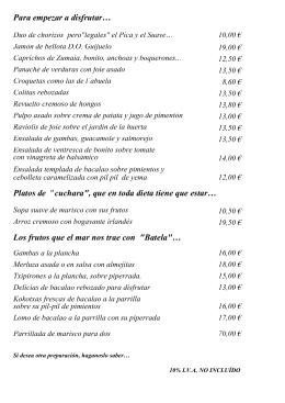 Carta - Restaurante Marina Berri