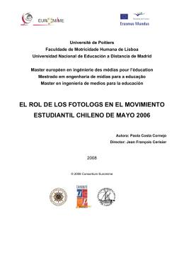 el rol de los fotologs en el movimiento estudiantil
