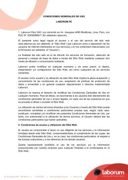 CONDICIONES GENERALES DE USO LABORUM.PE 1. Laborum