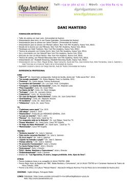Curriculum - Olga Antunez Representaciones