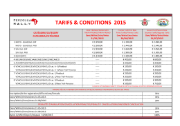 TARIFS & CONDITIONS 2015