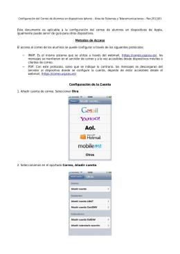 Este documento es aplicable a la configuración del correo de