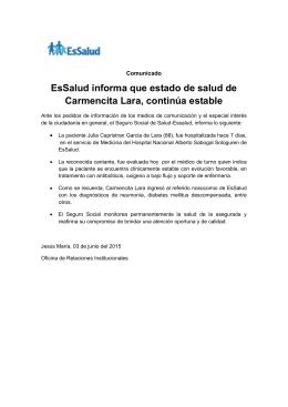 EsSalud informa que estado de salud de Carmencita Lara, continúa