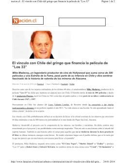 """El vínculo con Chile del gringo que financia la película de """"Los 33"""""""
