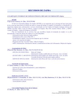 RECURSOS DE ZAFRA - Agencia de Empleo Joven de Zafra