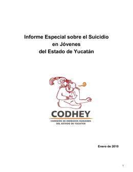 Informe especial sobre el Suicidio en Jóvenes del Estado de Yucatán