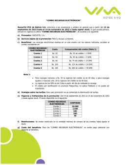 """""""COMBO RECARGAS ELECTRÓNICAS״ NuevaTel PCS de Bolivia"""
